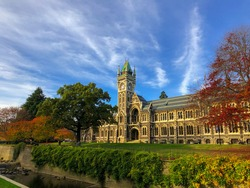 the morning blue skies over the University of Otago, New Zealand