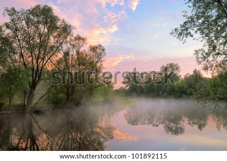 The morning landscape with fog and warm sky over the Narew river, Poland.