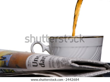 The morning paper with a cup of coffee