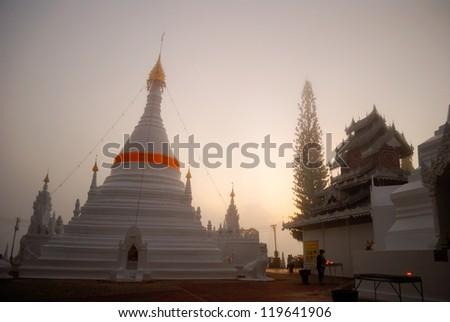 The Morning with fog at Wat Phra That Doi Kong Mu. Mae Hong Son, Thailand