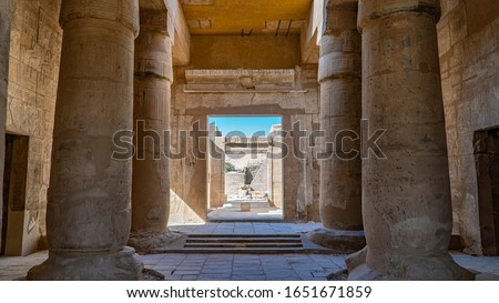 The Mortuary Temple of Seti I is the memorial temple of the New Kingdom Pharaoh Seti I. It is located in the Theban Necropolis in Upper Egypt, across the River Nile from the modern city of Luxor. Stock photo ©