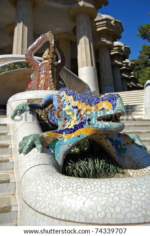 The mosaic Lizard in Barcelona at park Guell