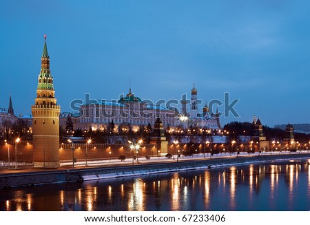 The Moscow Kremlin and Cathedrals winter night