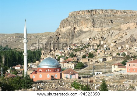the mosque and the village of Yaprakhisar near the Ihlara valley in Cappadocia - Turkey