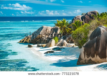 The most beautiful beach of Seychelles - Anse Source D'Argent Stock photo ©