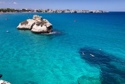 The most beautiful coast of Apulia: Torre Dell'Orso Bay, ITALY (Lecce).Typical seascape of Salento: view of the two stacks called The Two Sisters.