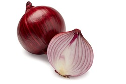The most beautiful red sliced onion isolated on white background. And one onion have cut and other have bulb.