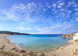 The most beautiful sandy beaches of Apulia: Marina di Pulsano (Italy).  The coast is characterized by a alternation of sandy coves and jagged cliffs overlooking a truly clear and crystalline sea.