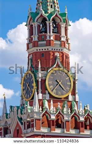 The Most Famous Chiming Clock on the Spasskaya Tower, Moscow, Russia