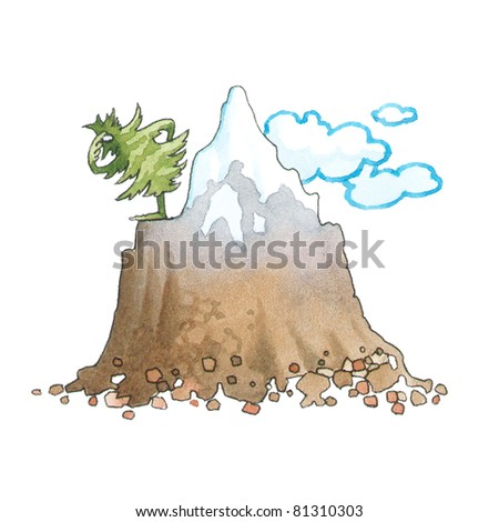 The most high-mountainous wood in the world (4200 m, China) - stock photo