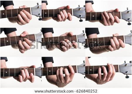 Royalty Free Set Of Hand Hold Basic Guitar Chord C 325266866