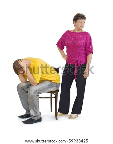 stock photo : The mother, in conflict with her adult son