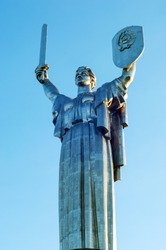 The Motherland Monument, stainless steel statue 102m tall, tribute to the Great Patriotic War (WWII), Kiev, Ukraine