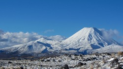 The Mount Ngauruhoe on the north island in Newzealand. It's a beautiful sunny winterday.