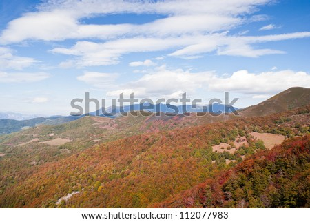 The mountain autumn landscape with colorful forest with blue and cloudy sky - stock photo