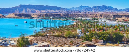 The mountain landscape of Sharm El Sheikh helps to overlook the city from the different angles, Sharm El Maya district looks great from the top, Egypt. #786724942