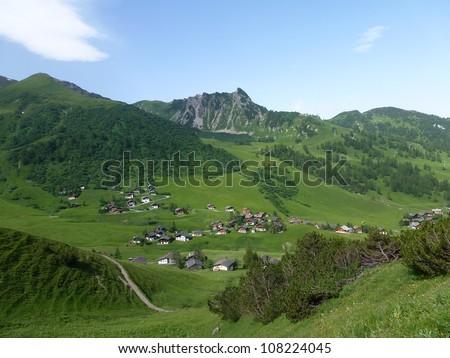 The mountains above the village Malbun in Liechtenstein