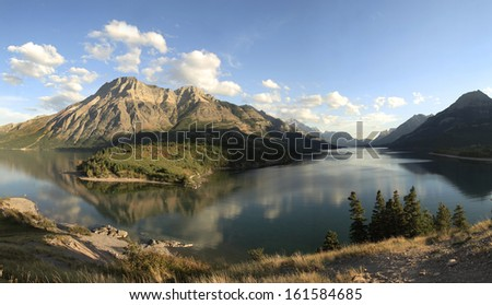 The mountains and lake of Waterton Provincial Park, Alberta, Canada