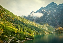 the mountains and the lake, autumn landscape