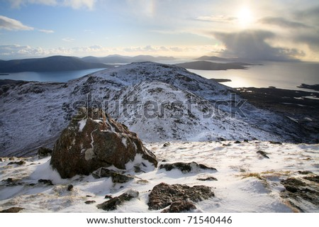 The mountains in the west of the Isle of Harris in the outer Hebrides of Scotland.