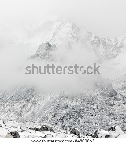 The Mt. Everest region in bad weather, Nepal