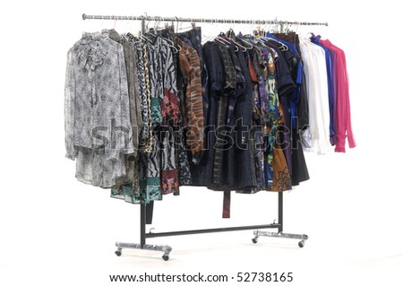 The multi-coloured clothes hangs on a hanger