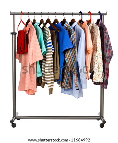 The multi-coloured  men's clothes hangs on a hanger on white  background