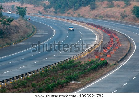 The Mumbai Pune Expressway. - Shutterstock ID 1095921782