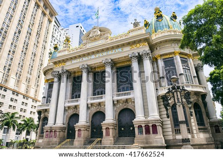 The Municipal Theatre, built in an Art Nouveau style inspired by the Paris Opera, was completed in 1909 in downtown Rio de Janeiro, Brazil Foto stock ©