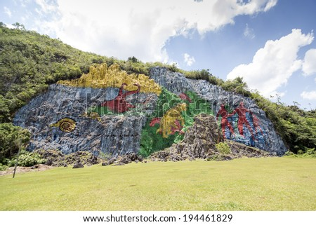 The Mural of Prehistory, which is 120 meters high and 180 meter wide, was painted on the slope of the hill. It is a singular representation of the biological evolution of the Sierra de los Organos, #194461829