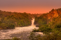 The Murchison waterfall on the Victoria Nile at sunset, Uganda.
