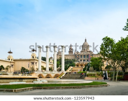 The Museu Nacional d'Art de Catalunya, is the national museum of visual art located in Barcelona, Spain. Situated on Montjuic hill at the end of Avinguda de la Reina Maria Cristina, near Pl Espanya.