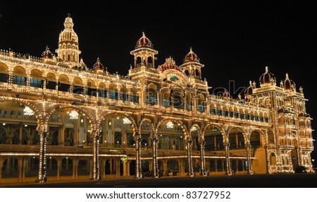 The Mysore Palace at night - stock photo