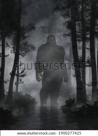 The mysterious bigfoot, a creature of folklore and legend, and the most popular cryptid of North America, stands in a shallow creek in the woods at night. 3D Rendering