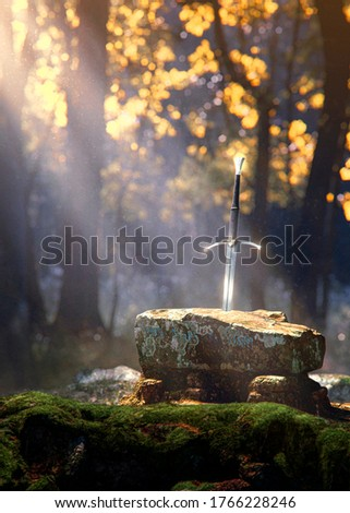 the mythical excalibur sword in the stone lightened by the sun ray in the forest on mossy rocks - concept art - 3D rendering Photo stock ©