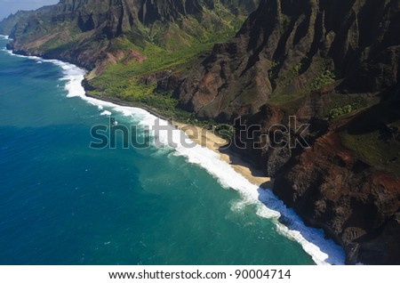 The Na Pali coast from the sky, Kauai Island, Hawaii, USA