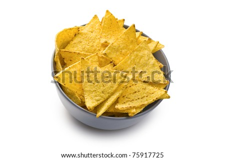 the nachos chips in bowl on white background