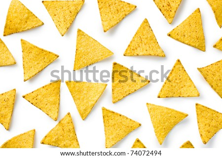 the nachos chips on white background
