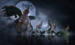 The Naga and Garuda at khong river on the night of the full moon