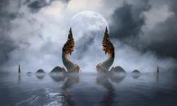 The Naga at khong river on the night of the full moon