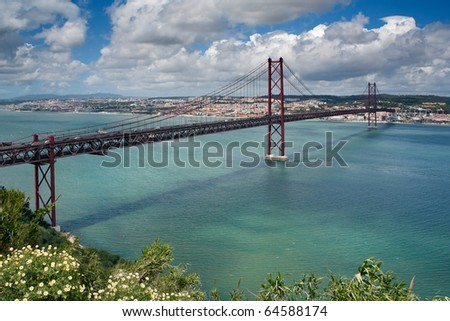 The name bridge on April, 25th through the river Tagus in Lisbon, Portugal