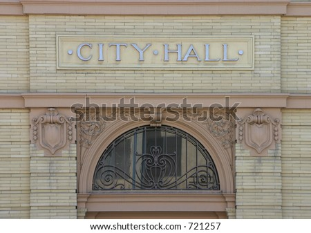 The Nameplate Above The Entrance To A Small Town'S City Hall ...