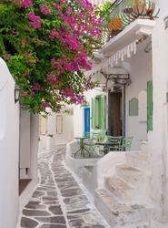 The narrow streets of the Greek islands with bougainvillea flowers. Mykonos.