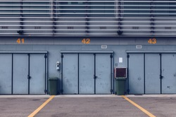 The National Autodrome of Monza - Pit Stop Lines and Garage Area in an Empty Race Track - Monza Circuit in Lombardy - Italy