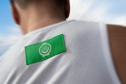 The national flag of Arab League on the athlete's back