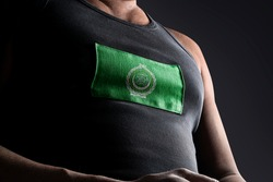 The national flag of Arab League on the athlete's chest