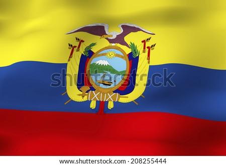 Detailed 3d Rendering Closeup Of The Flag Of Ecuador Flag Has A
