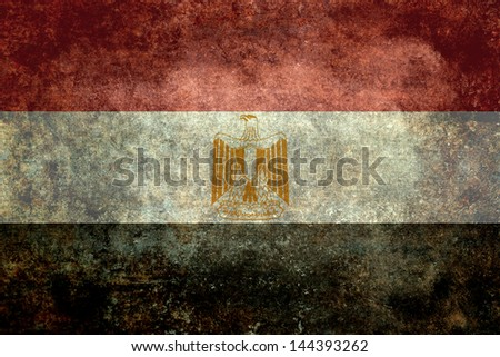 The National Flag of Egypt, A worn textured Distressed retro vintage version