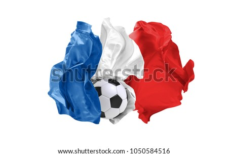 The national flag of France. . Flag made of fabric. Football and soccer concept. Fans concept. Soccer ball with fabric. Isolated on white background. Flying flag. #1050584516