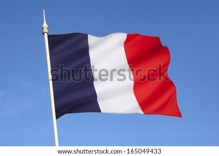 Stock Photo The national flag of France is a tricolor featuring three vertical bands colored royal blue, white, and red. It is known to English speakers as the French Tricolor